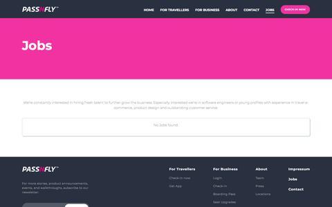 Screenshot of Jobs Page passnfly.com - Passnfly - Jobs - captured June 12, 2018