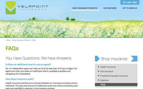 Screenshot of FAQ Page velapoint.com - VelaPoint Insurance Agency - captured Oct. 7, 2014