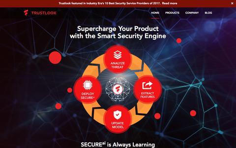 Screenshot of Home Page trustlook.com - Trustlook AI - captured Nov. 18, 2017