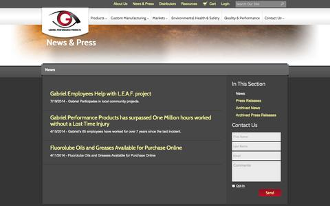 Screenshot of Press Page gabepro.com - News & Press || Gabriel Performance Products - captured Oct. 1, 2014