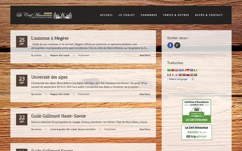 Screenshot of Blog lecerfamoureux.com - Actualitées autour du chalet - Hôtel Le Cerf Amoureux :: Charme & Prestige au Mont Blanc près de Megève, Chamonix, Combloux, Cordon ... - captured Sept. 29, 2014