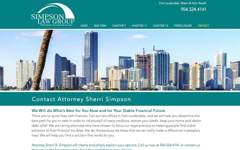 Screenshot of Contact Page gochapter13.com - Contact Us 954-524-4141 | Simpson Law Group | Fort Lauderdale - captured Sept. 25, 2018