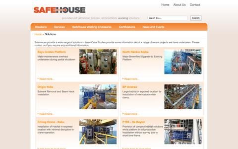 Screenshot of Case Studies Page safehousehabitats.com - solutions - captured Oct. 4, 2014