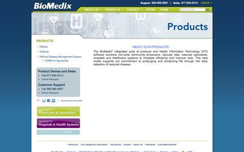 Screenshot of Products Page biomedix.com - BioMedix -  Products - captured Sept. 13, 2014