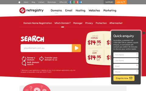 Screenshot of Pricing Page netregistry.com.au - Domain Name Search   Australian Domain Name Registrations - captured May 6, 2017