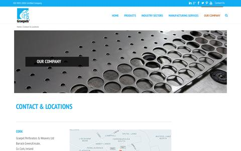 Screenshot of Contact Page Locations Page graepels.com - Contact Us | Graepel Perforators - captured April 15, 2016