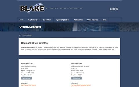 Screenshot of Locations Page josephjblake.com - Offices/Locations   Joseph J. Blake and Associates, Inc. - captured Oct. 6, 2014