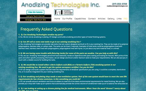 Screenshot of FAQ Page anodizingtechnologies.com - ati faq page - captured Nov. 12, 2018