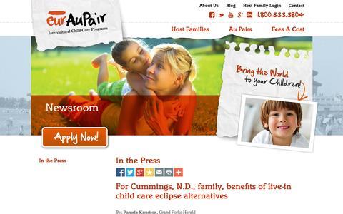 Screenshot of Press Page euraupair.com - In the Press | Newsroom | EurAupair - captured Sept. 30, 2014