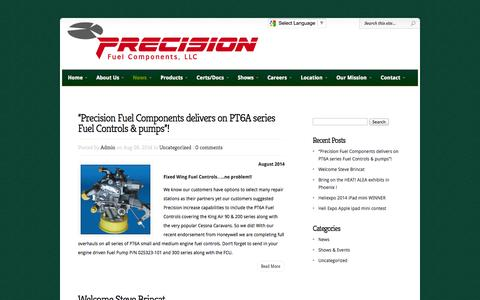 Screenshot of Press Page precisionfuel.com - Helicopter Industry News & Information | Precision Fuel Components, LLC - captured Oct. 2, 2014