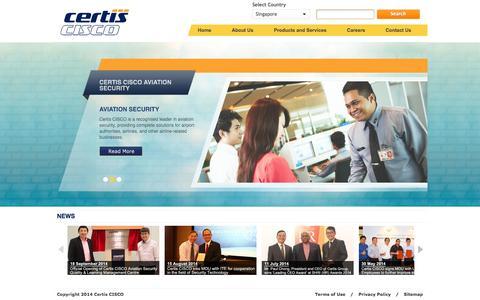 Screenshot of Home Page certissecurity.com - Welcome to Certis CISCO - captured Oct. 2, 2014