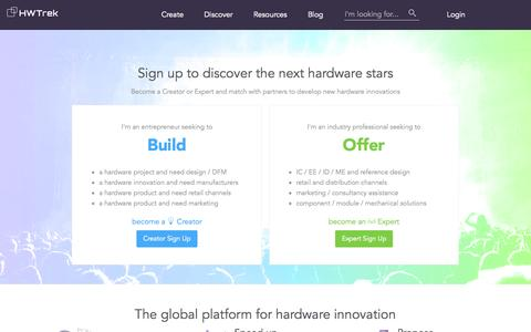 Screenshot of Signup Page hwtrek.com - HWTrek - sign up as a Creator or Expert - captured Oct. 20, 2015