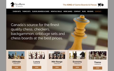 Screenshot of Home Page chessbaron.ca - ChessBaron Canada for Chess Sets, Chess Boards, Chess Pieces, Backgammon, Cribbage - captured Oct. 21, 2018