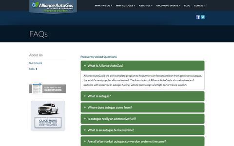 Screenshot of FAQ Page allianceautogas.com - FAQs | Alliance AutoGas - captured July 29, 2018