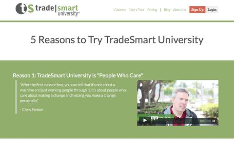 Screenshot of Testimonials Page tradesmartu.com - TradeSmart University - captured Sept. 24, 2015