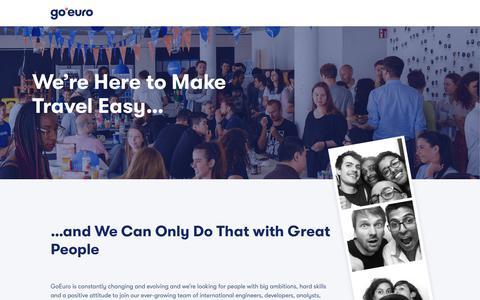 Screenshot of Jobs Page goeuro.com - Careers - captured Jan. 3, 2019