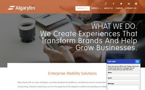 Screenshot of Products Page algarytm.com - Algarytm Products - Algarytm - captured Feb. 8, 2017