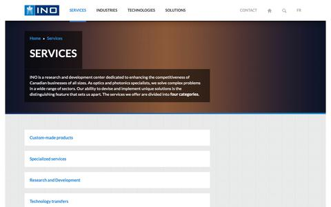 Screenshot of Services Page ino.ca - INO - Optics-Photonics Services - captured Sept. 30, 2018