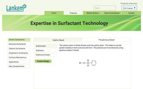 Screenshot of Products Page lankem.eu - Products ¦ Lankem Surfactants - captured July 5, 2017