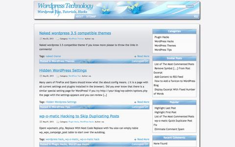 Screenshot of Home Page wordpress-tech.info - Wordpress Technology - captured Jan. 26, 2015