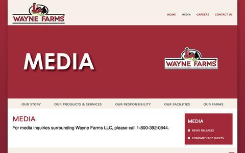 Screenshot of Press Page waynefarms.com - Wayne Farms LLC - Press - captured Feb. 13, 2016