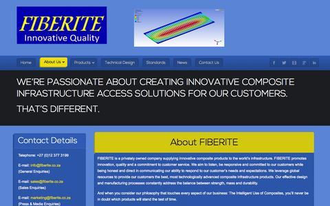Screenshot of About Page fiberite.co.za - FIBERITE - About Us - captured Sept. 30, 2014