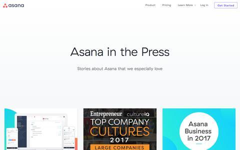 Screenshot of Press Page asana.com - Press · Asana - captured July 27, 2017