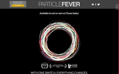 Screenshot of Home Page particlefever.com - Particle Fever - Unravel the mysteries of the Large Hadron Collider - captured Oct. 1, 2014