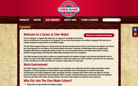 Screenshot of Jobs Page cher-make.com - Cher Make - Authentic Sausage - captured Jan. 27, 2016