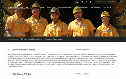 Screenshot of Team Page grancolombiagold.com - Gran Colombia Gold Corporation - About Us - Management - captured Nov. 13, 2016