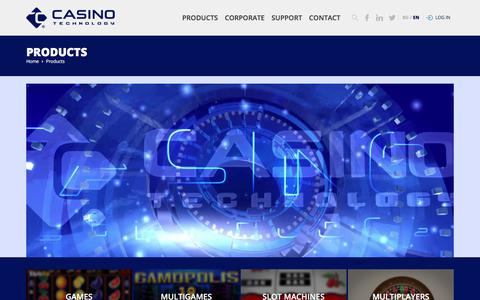 Screenshot of Products Page casino-technology.com - Casino Technology - captured May 29, 2018