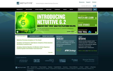 Screenshot of Home Page netuitive.com - Predictive Analytics for IT | Proactive IT Performance Management | Netuitive - captured Sept. 16, 2014
