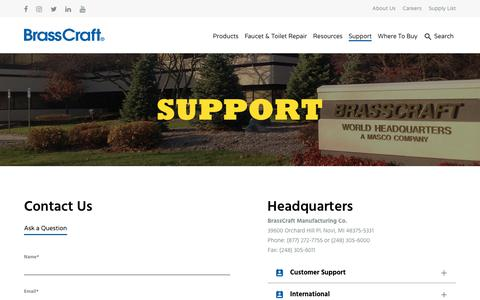 Screenshot of Contact Page Support Page brasscraft.com - Support - Brasscraft Mfg. Co. - captured June 2, 2017