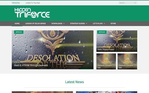 Screenshot of Home Page hiddentriforce.com - Hidden Triforce - Your Home to Everything Zelda! - captured July 19, 2018