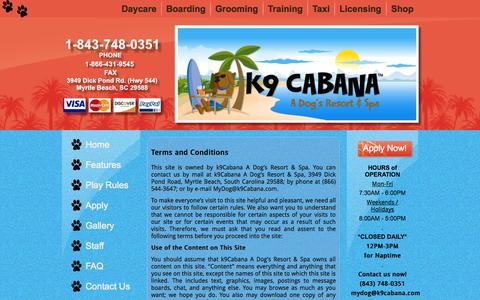 Screenshot of Terms Page k9cabana.com - Terms | k9Cabana.com – A Dog's Resort & Spa – dog daycare, grooming, training – Myrtle Beach, SC - captured Nov. 3, 2014