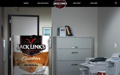 Screenshot of Home Page jacklinks.com - Jack Link's - Feed Your Wild Side - captured Feb. 11, 2016