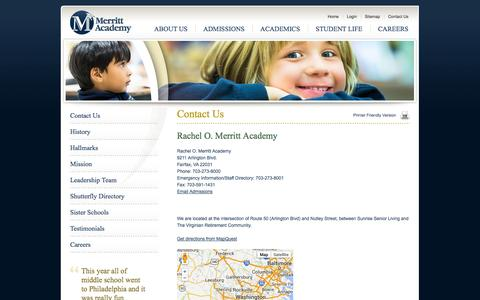 Screenshot of Contact Page merrittacademy.org - Day Care, Middle School, Private School, Fairfax, Virginia (VA) - captured Oct. 27, 2014