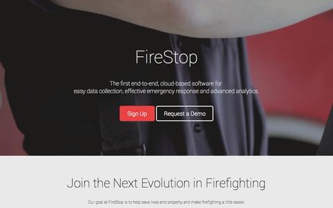 Screenshot of Contact Page firestopapp.com - FireStop - captured Dec. 17, 2014