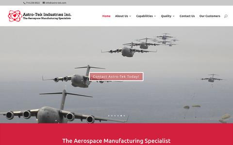 Screenshot of Home Page astro-tek.io - The Aerospace Manufacturing Specialists - captured Dec. 26, 2016