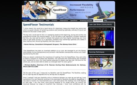 Screenshot of Testimonials Page speedflexer.ie - SpeedFlexer.ie   Testimonials   Speedflexer - captured May 14, 2016
