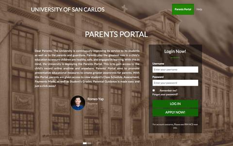 Screenshot of Login Page usc.edu.ph - University of San Carlos - captured Feb. 13, 2016