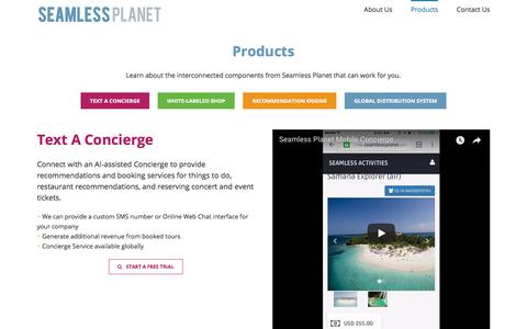 Screenshot of Products Page seamlessplanet.com - Products | Seamless Planet - captured July 28, 2018