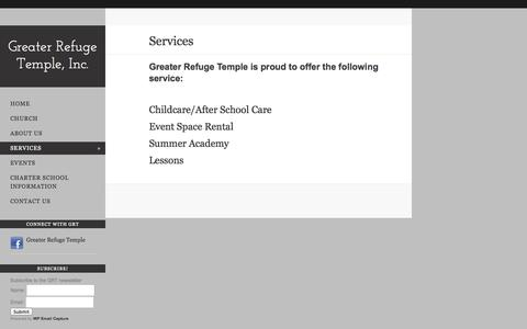 Screenshot of Services Page greaterrefugetemplecanton.com - Services - captured Oct. 3, 2014