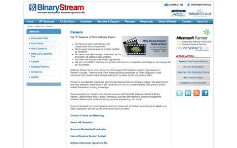 Screenshot of Jobs Page binarystream.com - Careers at Binary Stream Software - captured Oct. 5, 2014