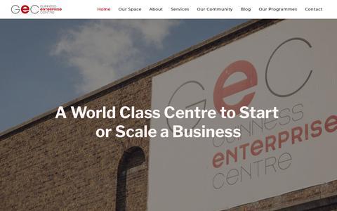 Screenshot of Home Page gec.ie - Guinness Enterprise Centre | Office Space Dublin | Startup Incubator - captured Dec. 16, 2018