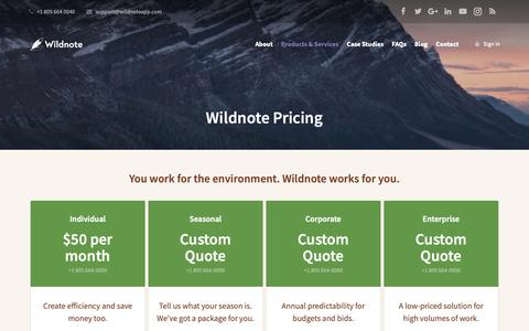 Screenshot of Pricing Page wildnoteapp.com - Pricing - Wildnote - captured Nov. 2, 2018