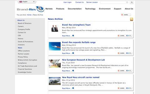 Screenshot of Press Page brand-rex.com - News Archive | Brand-Rex Ltd. - captured Sept. 30, 2014