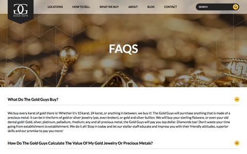 Screenshot of FAQ Page goldguys.com - Gold Guys FAQs | Sell Gold, Gold Buyers | Your Gold Guys - captured July 21, 2018