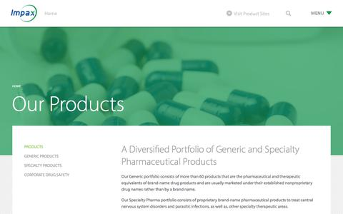 Screenshot of Products Page impaxlabs.com - Products - Impax Laboratories, Inc. - captured Oct. 14, 2017