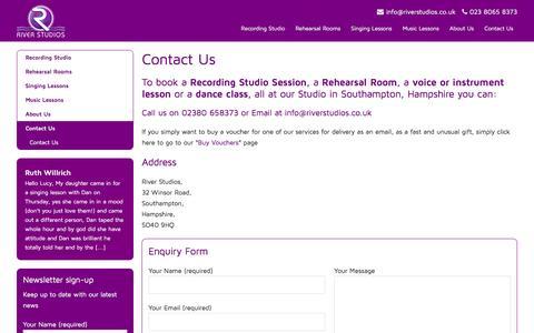 Screenshot of Contact Page riverstudios.co.uk - Contact Us - River Studios - captured May 21, 2016